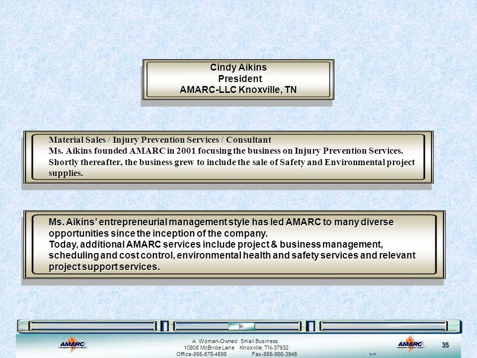 Cindy Aikins President AMARC-LLC Knoxville, TN