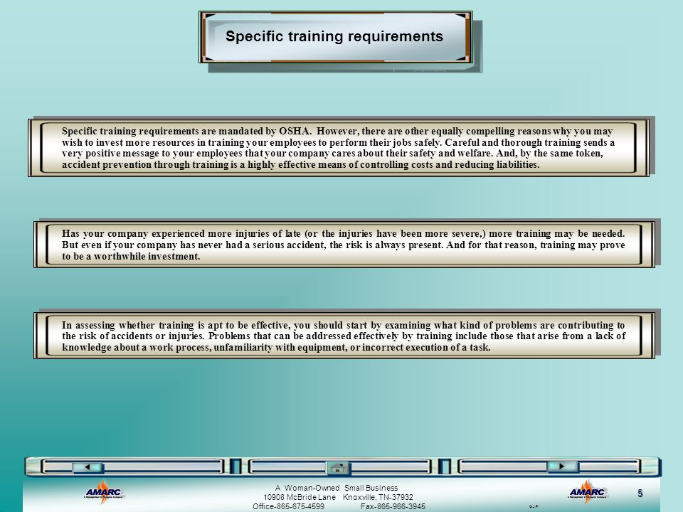 Specific training requirements