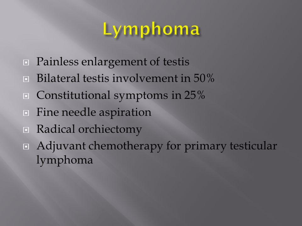 Lymphoma Painless enlargement of testis