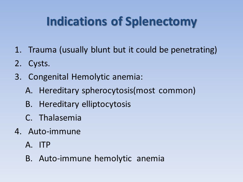 Indications of Splenectomy