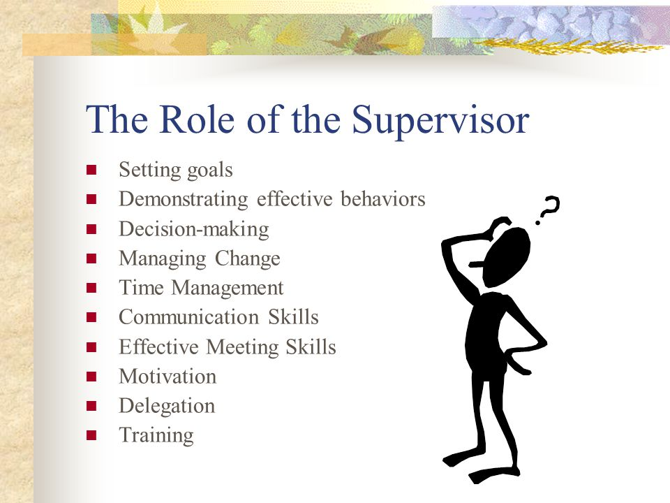 The Role of the Supervisor