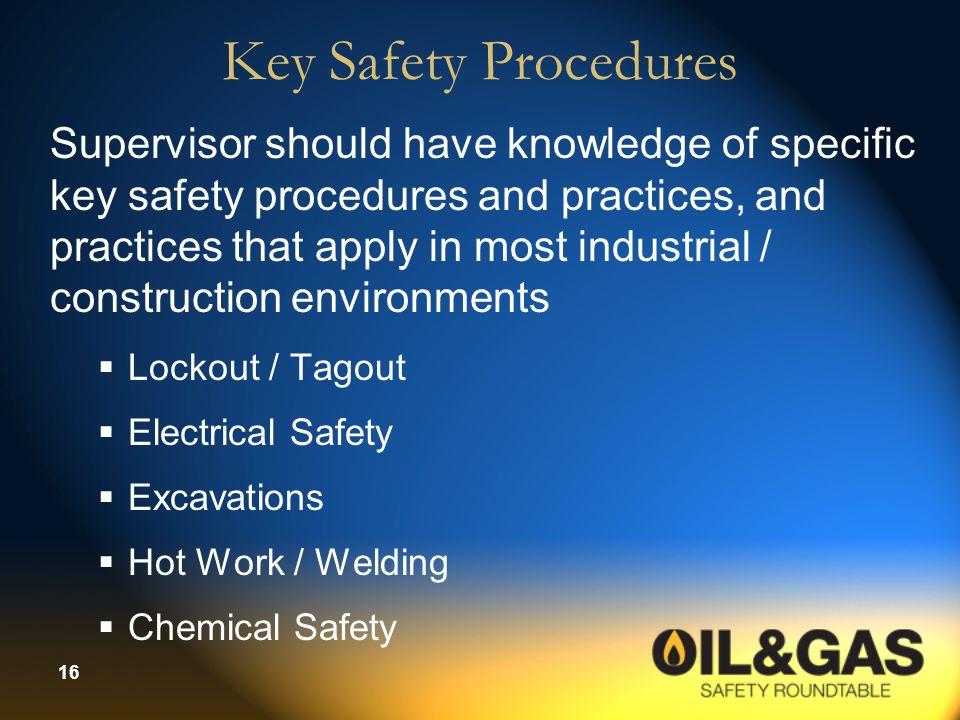 Key Safety Procedures