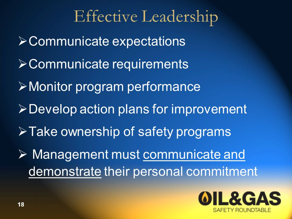 Effective Leadership Communicate expectations Communicate requirements
