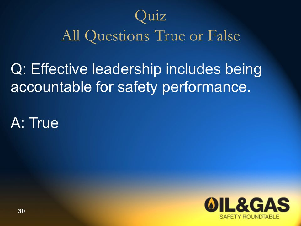 Quiz All Questions True or False