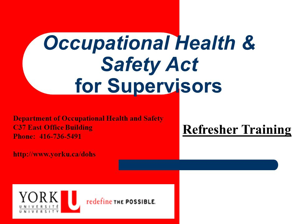 Occupational Health & Safety Act for Supervisors