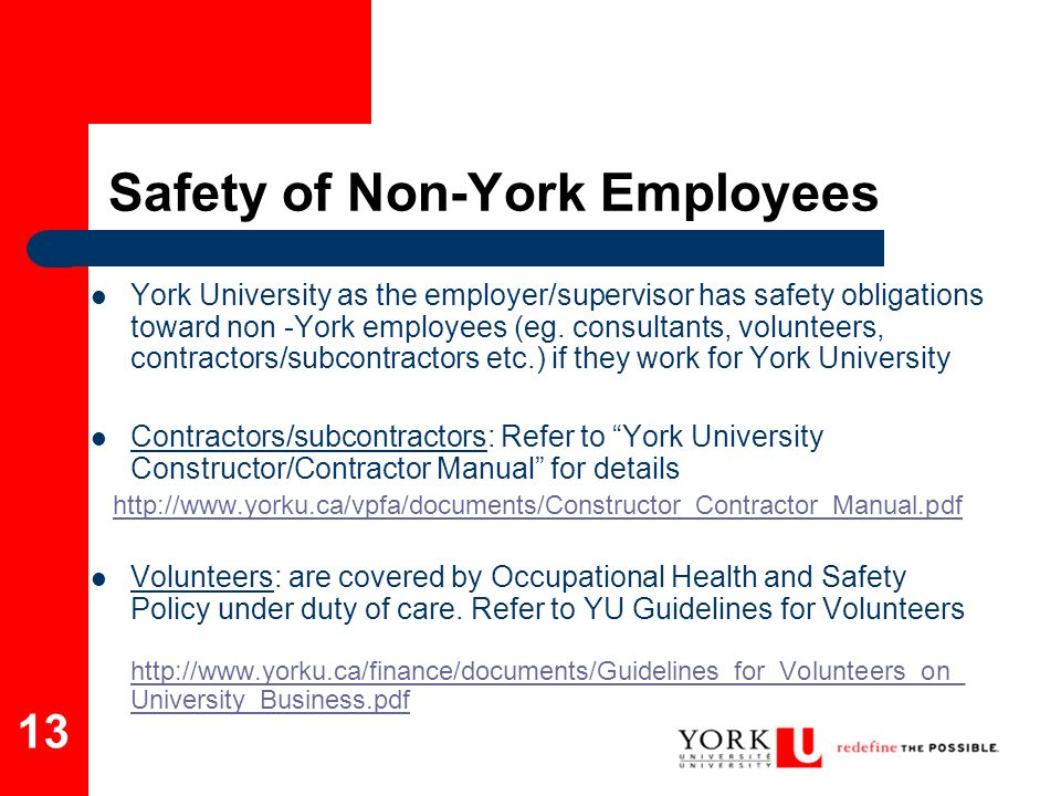 Safety of Non-York Employees