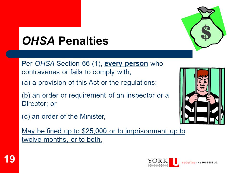 OHSA Penalties Per OHSA Section 66 (1), every person who contravenes or fails to comply with, (a) a provision of this Act or the regulations;