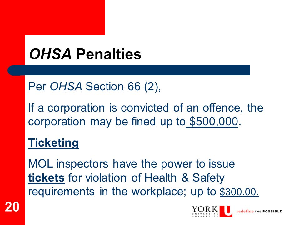 OHSA Penalties Per OHSA Section 66 (2),