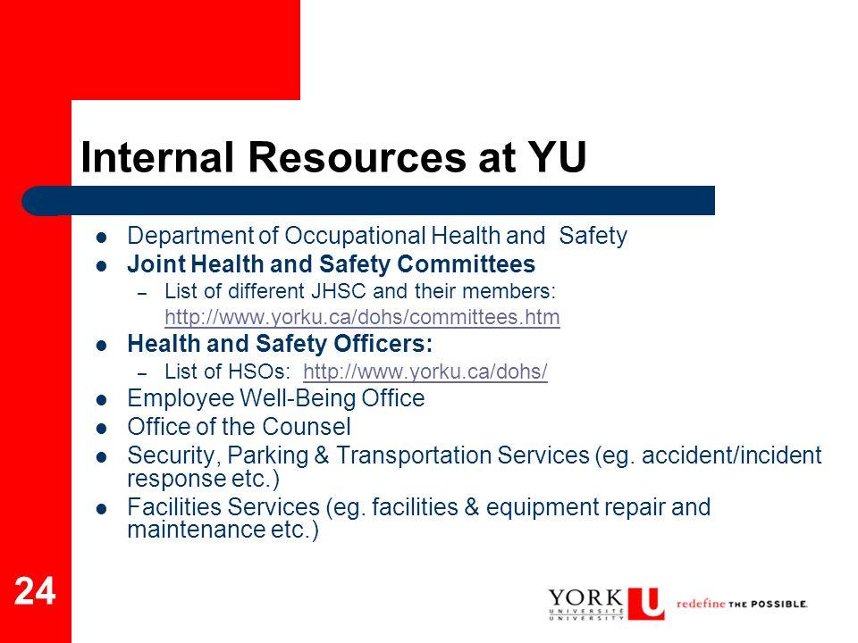 Internal Resources at YU