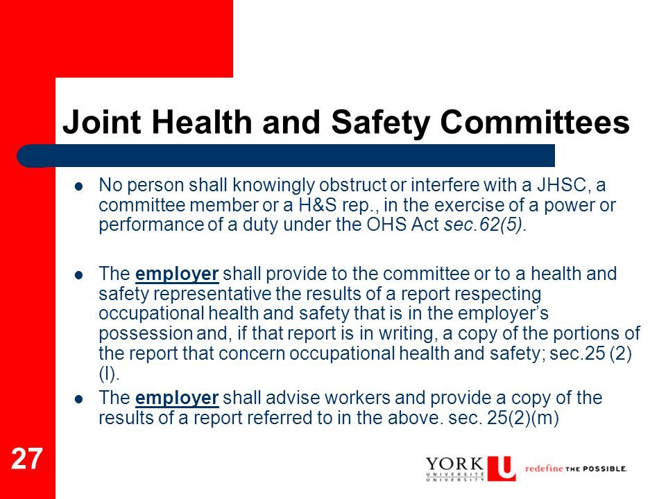 Joint Health and Safety Committees