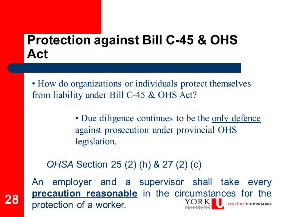 Protection against Bill C-45 & OHS Act