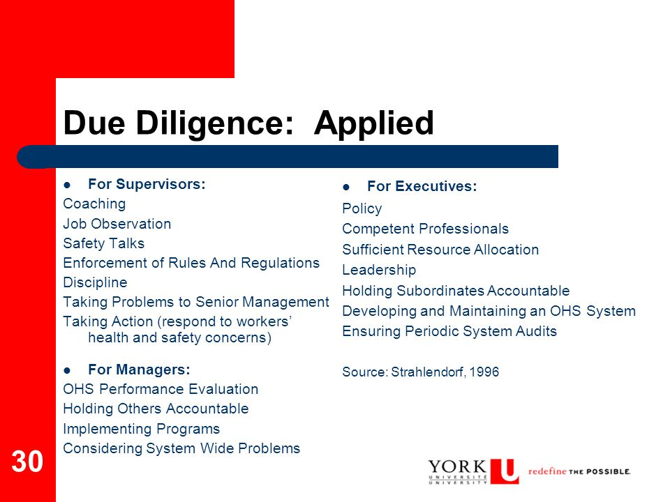 Due Diligence: Applied