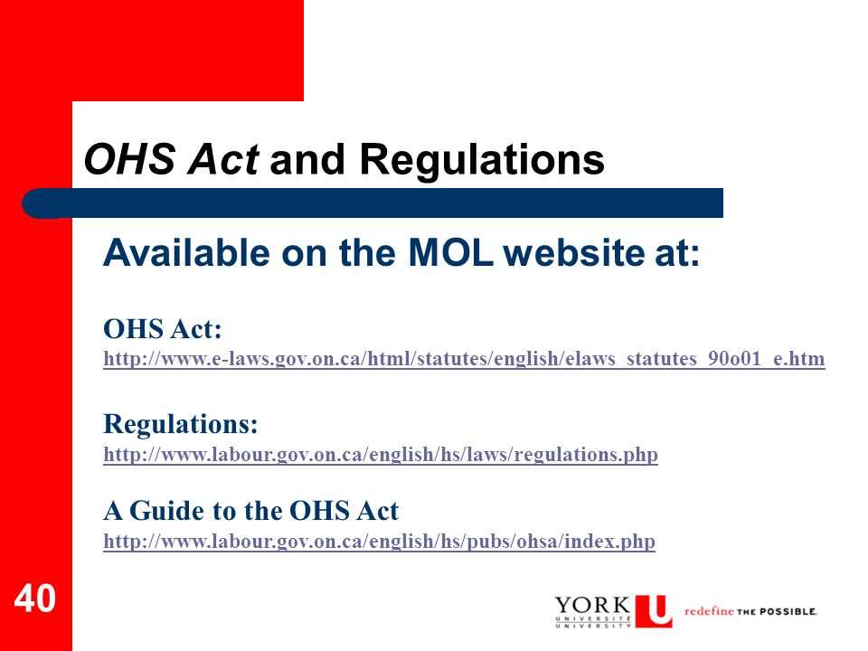OHS Act and Regulations