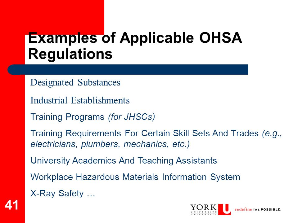 Examples of Applicable OHSA Regulations