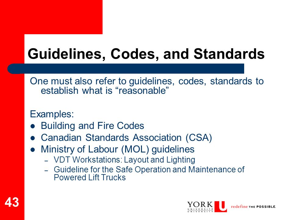 Guidelines, Codes, and Standards