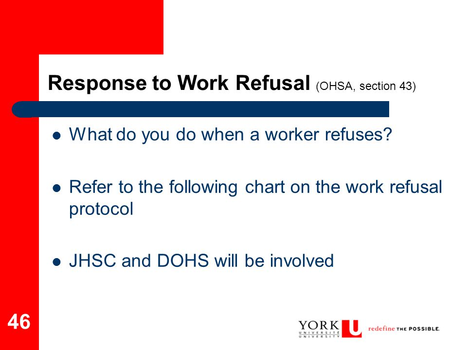Response to Work Refusal (OHSA, section 43)