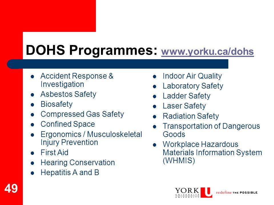 DOHS Programmes: www.yorku.ca/dohs