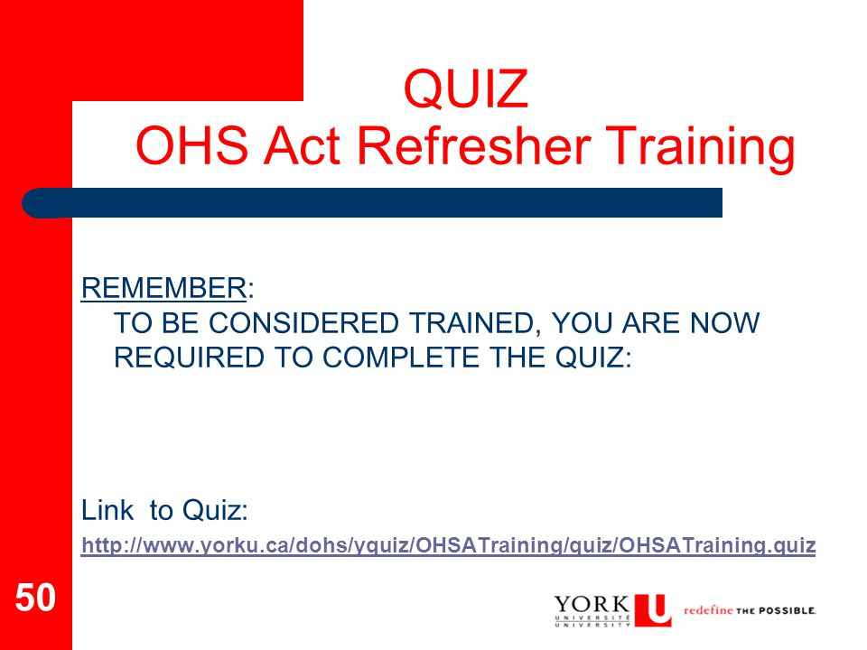 QUIZ OHS Act Refresher Training