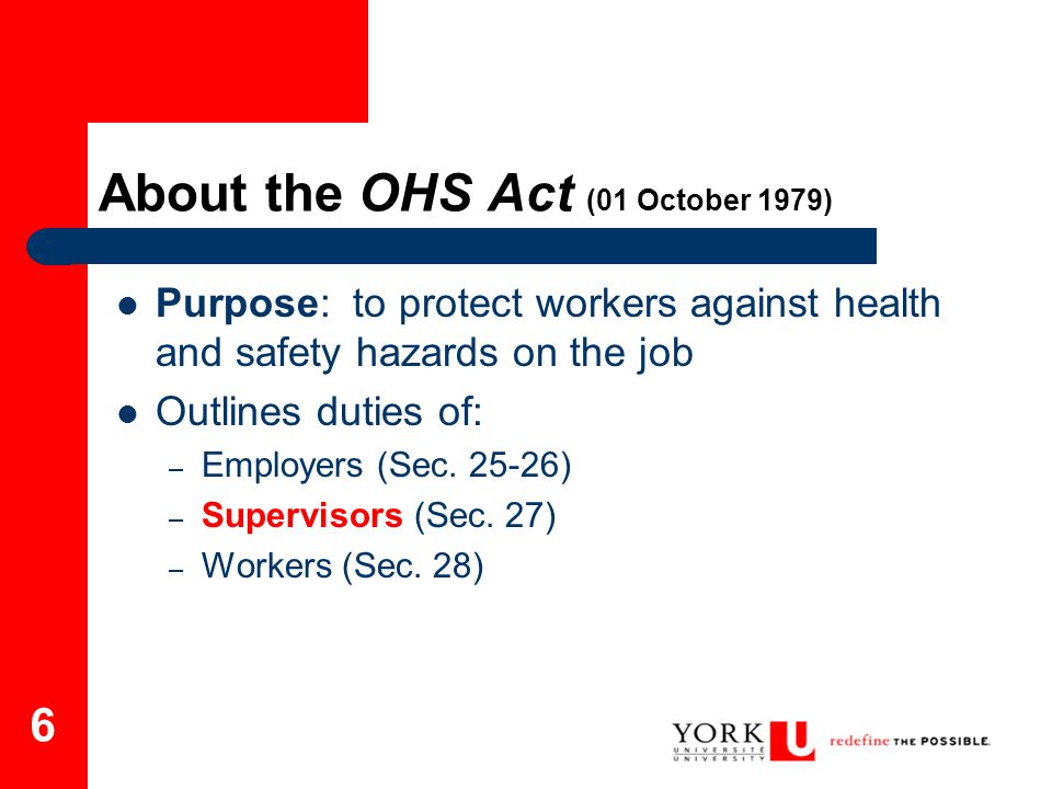 About the OHS Act (01 October 1979)