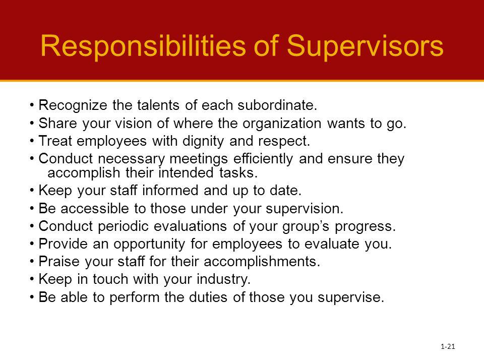 Responsibilities of Supervisors