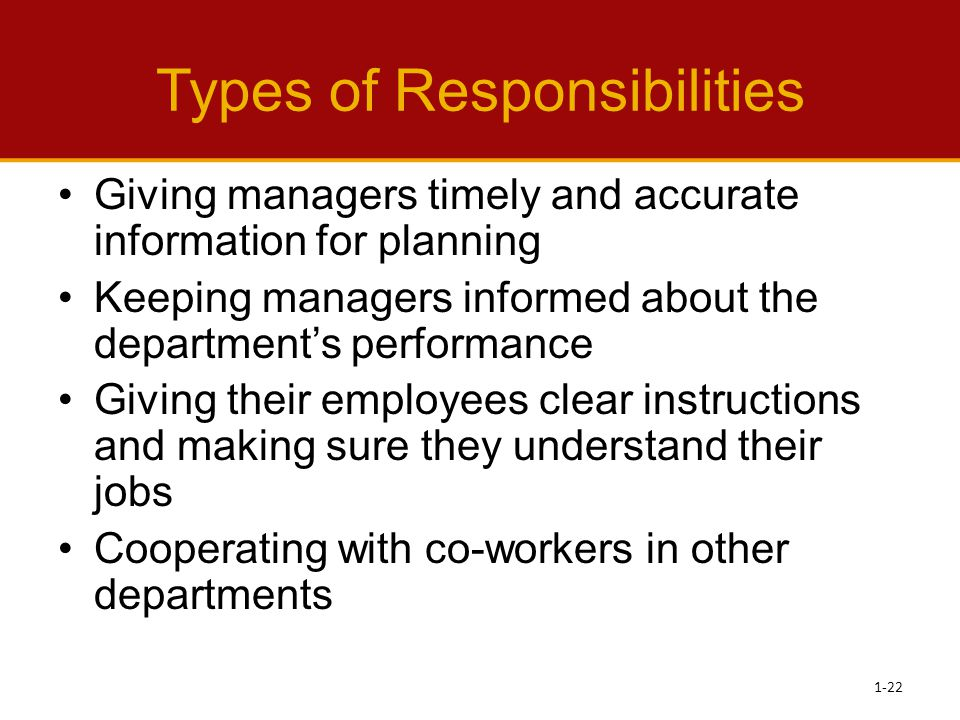 Types of Responsibilities