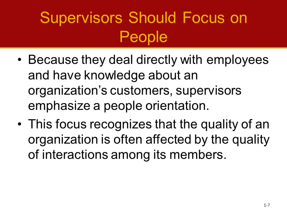 Supervisors Should Focus on People