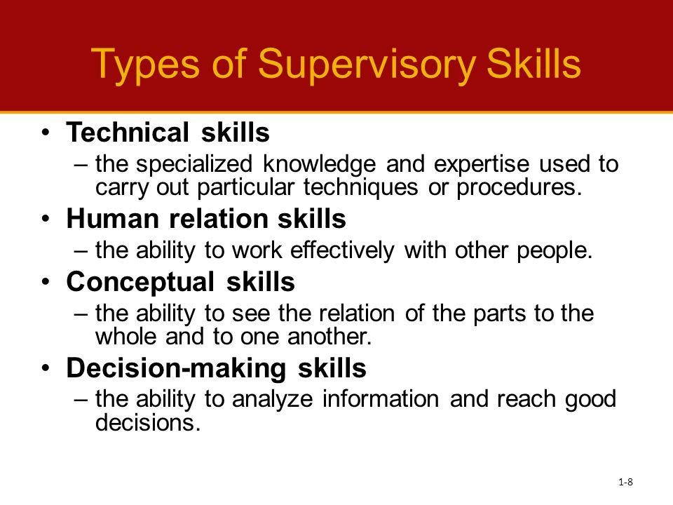 Types of Supervisory Skills