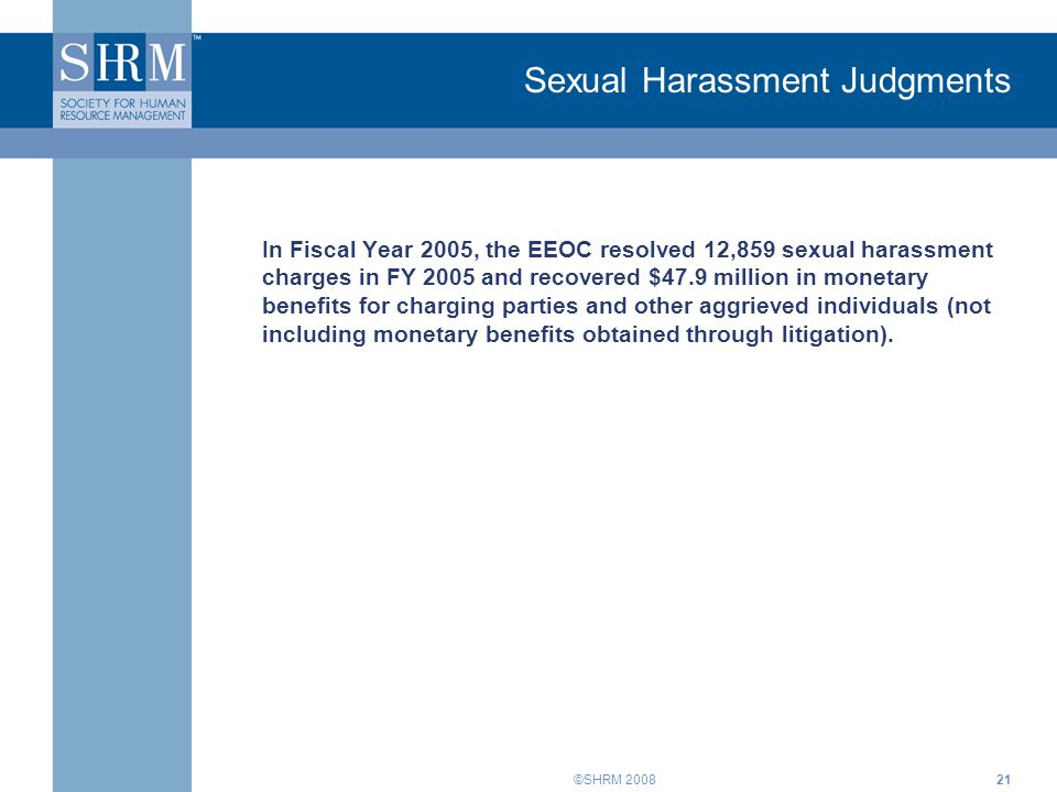 Sexual Harassment Judgments