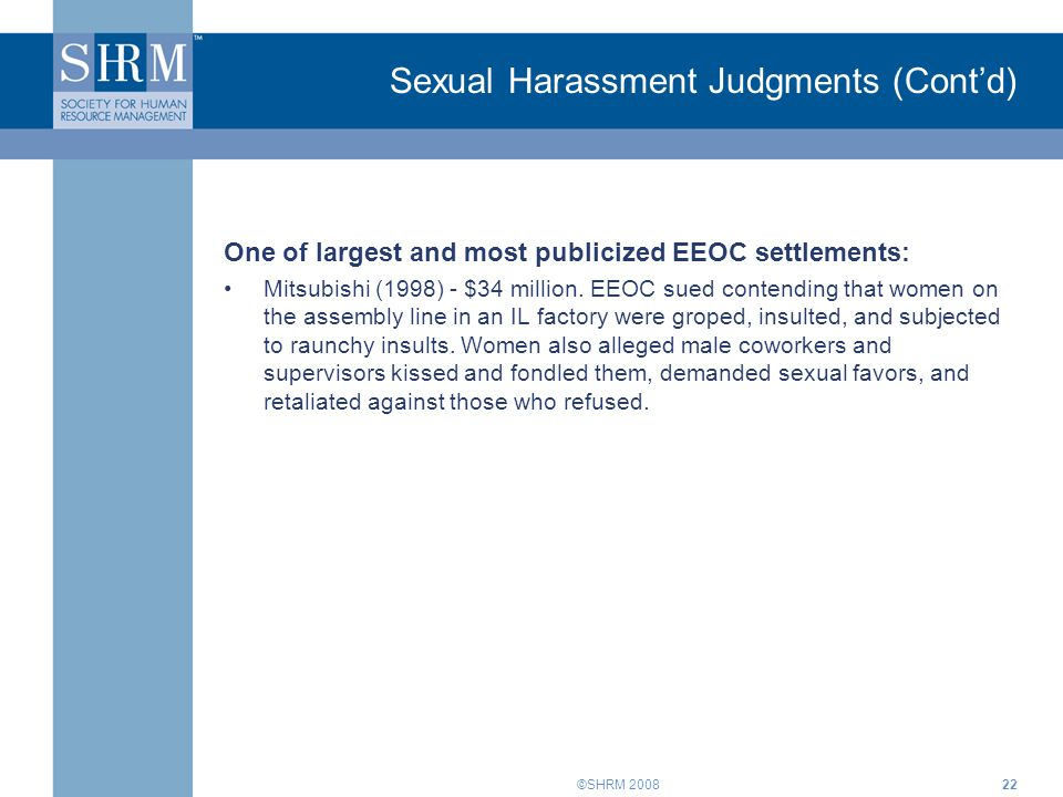 Sexual Harassment Judgments (Cont'd)