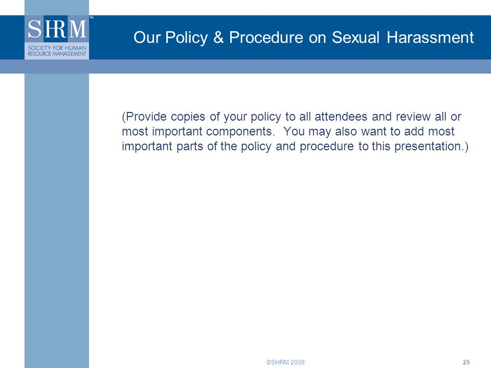 Our Policy & Procedure on Sexual Harassment