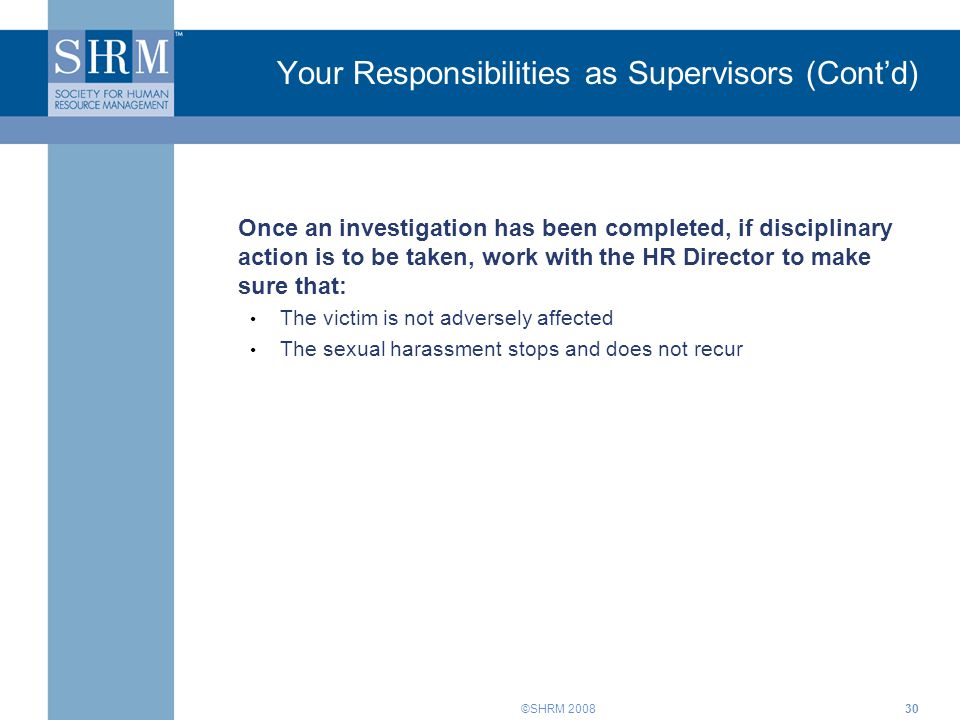 Your Responsibilities as Supervisors (Cont'd)