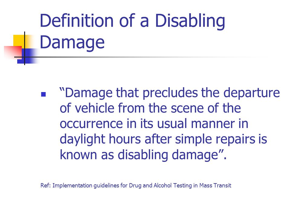 Definition of a Disabling Damage