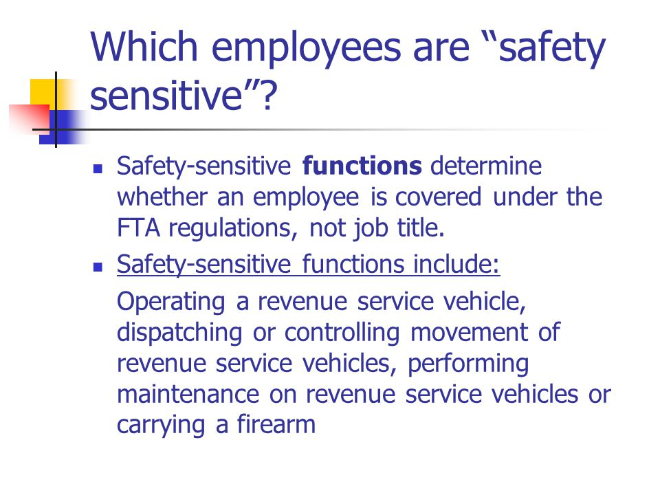 Which employees are safety sensitive