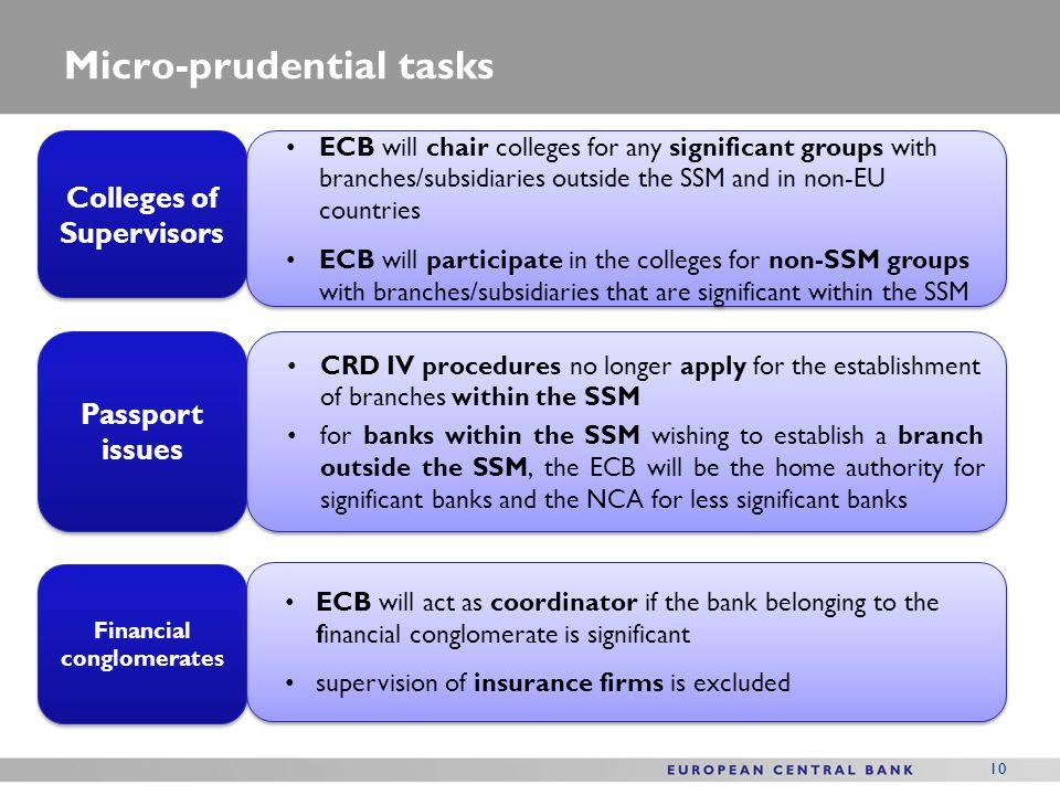 Micro-prudential tasks