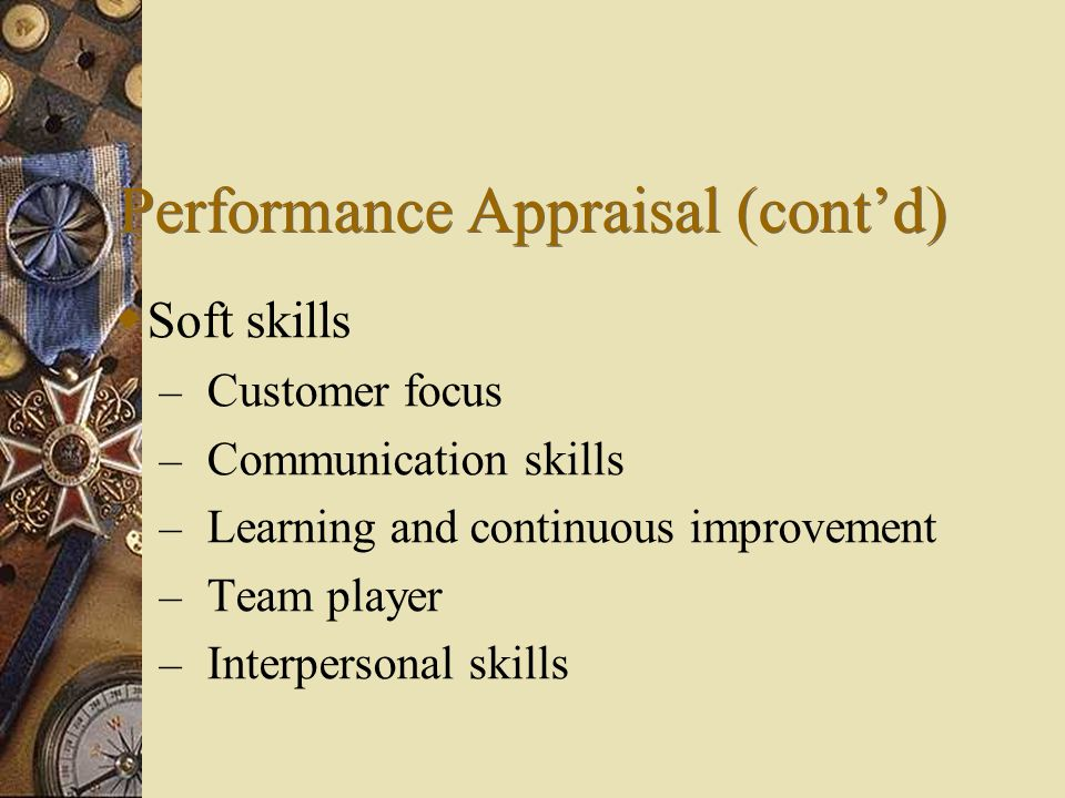 Performance Appraisal (cont'd)