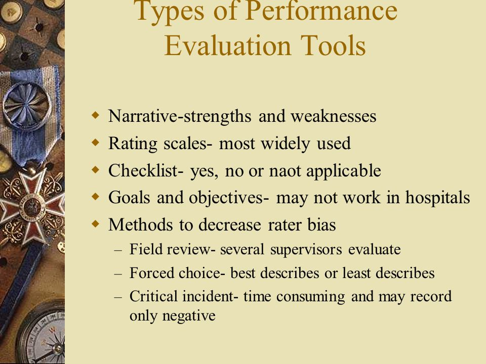 Types of Performance Evaluation Tools