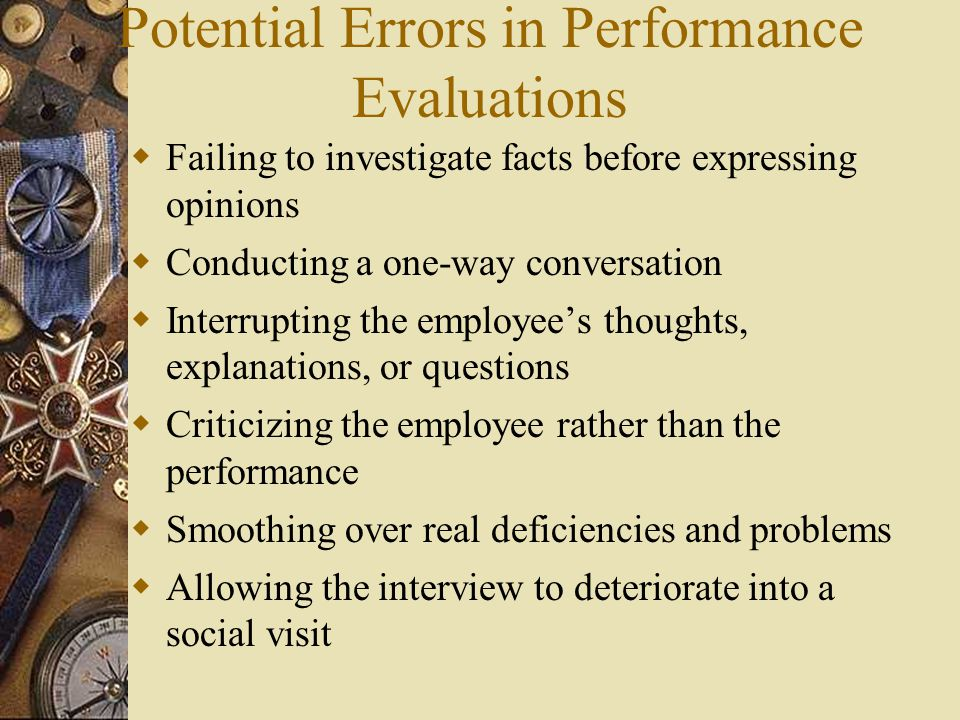 Potential Errors in Performance Evaluations
