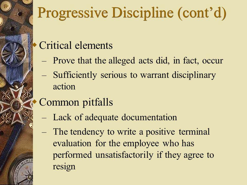 Progressive Discipline (cont'd)