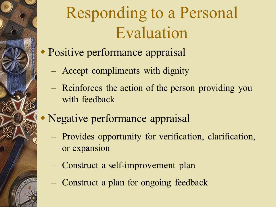 Responding to a Personal Evaluation
