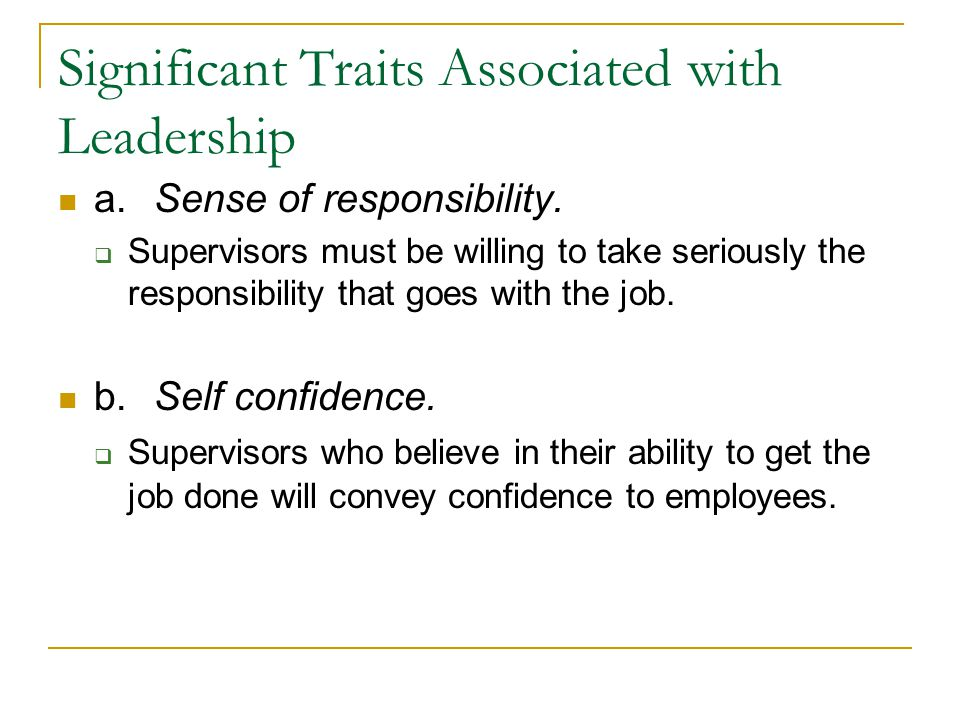 Significant Traits Associated with Leadership