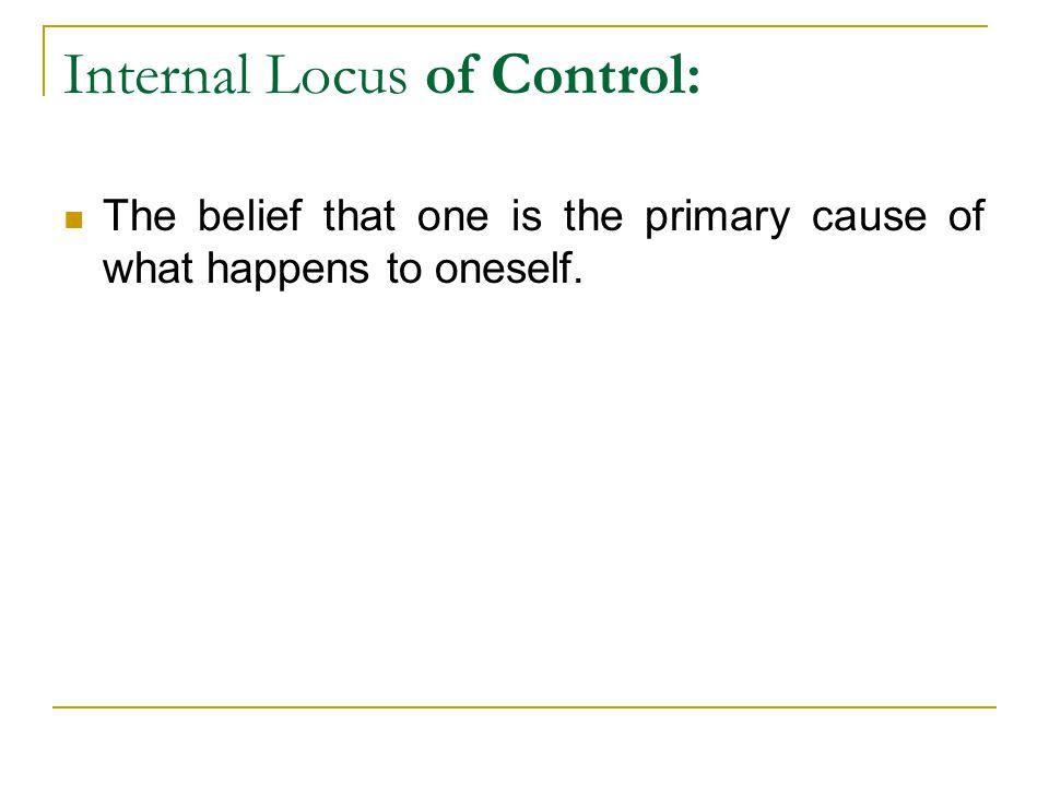 Internal Locus of Control: