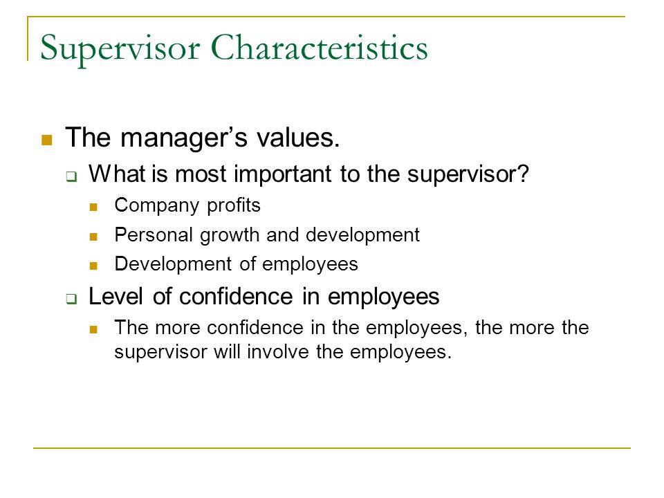 Supervisor Characteristics