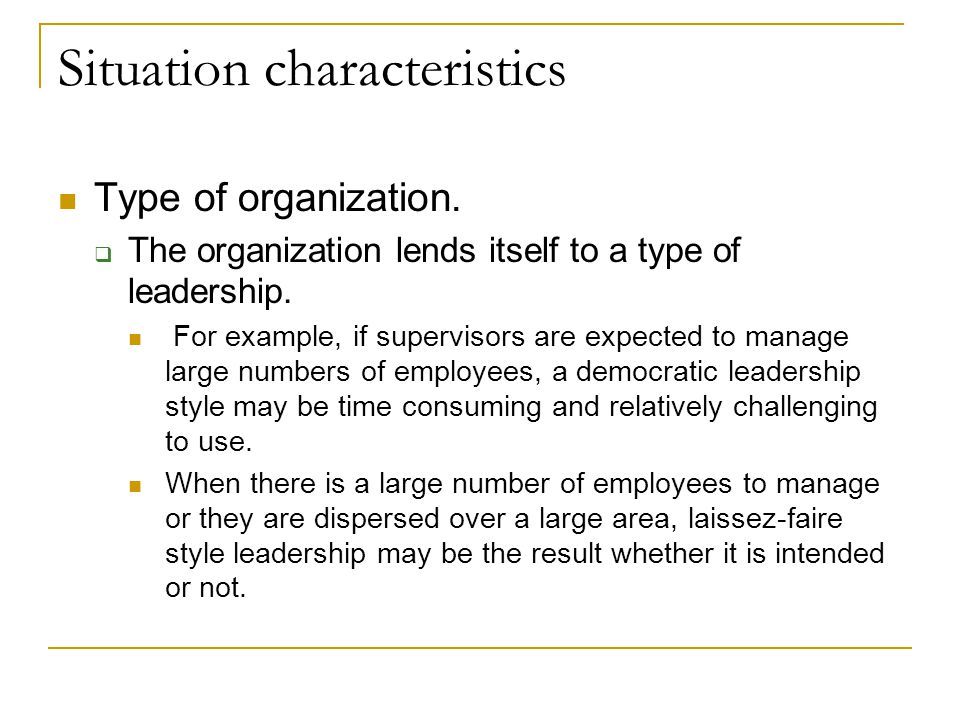 Situation characteristics