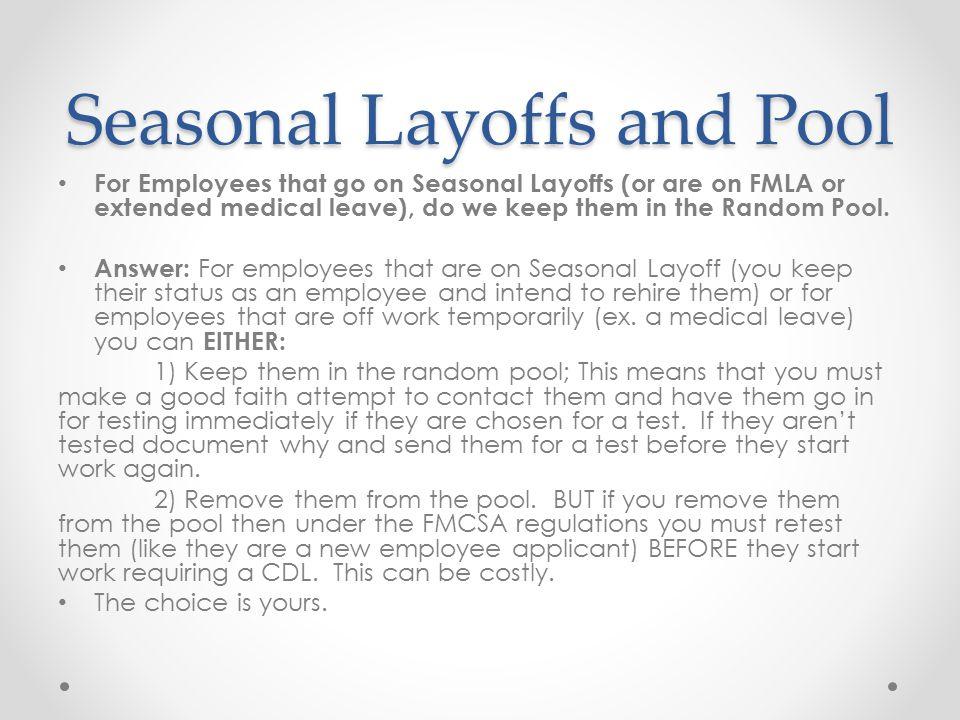 Seasonal Layoffs and Pool