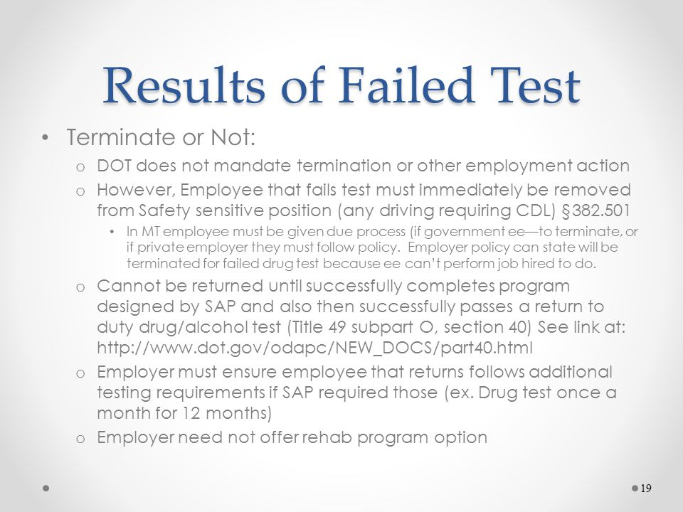 Results of Failed Test Terminate or Not: