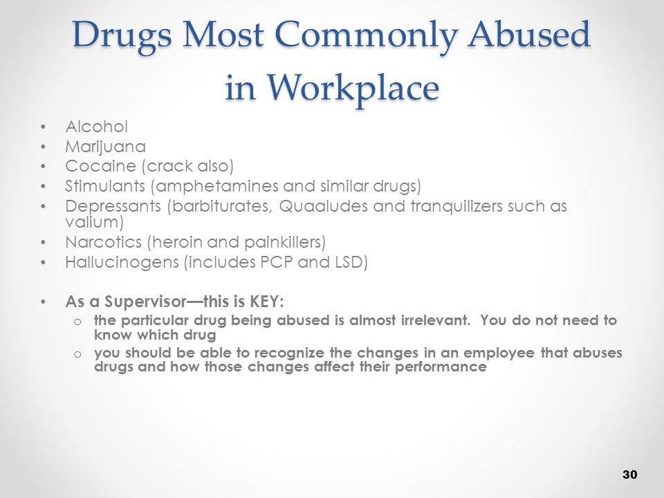 Drugs Most Commonly Abused in Workplace