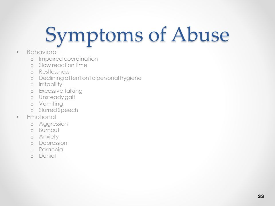 Symptoms of Abuse Behavioral Emotional Impaired coordination