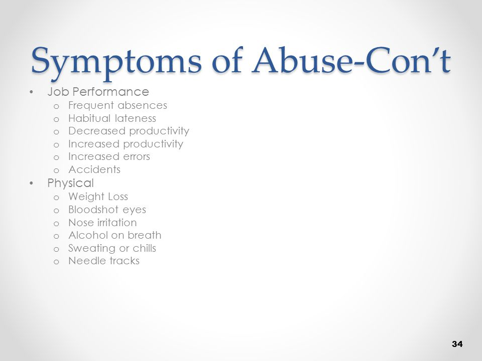 Symptoms of Abuse-Con't