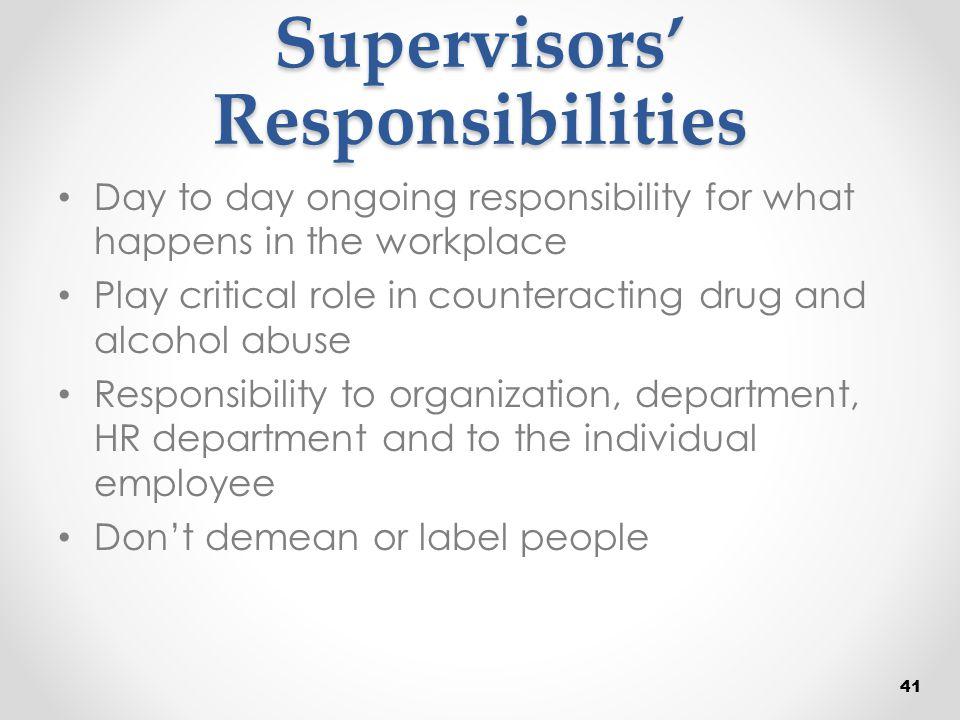 Supervisors' Responsibilities
