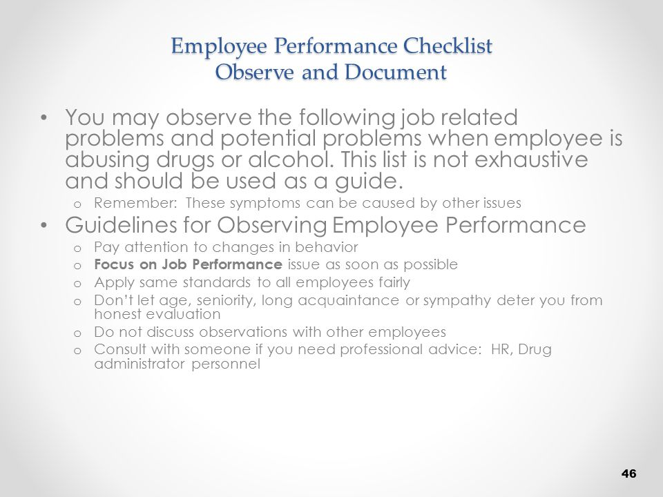 Employee Performance Checklist Observe and Document